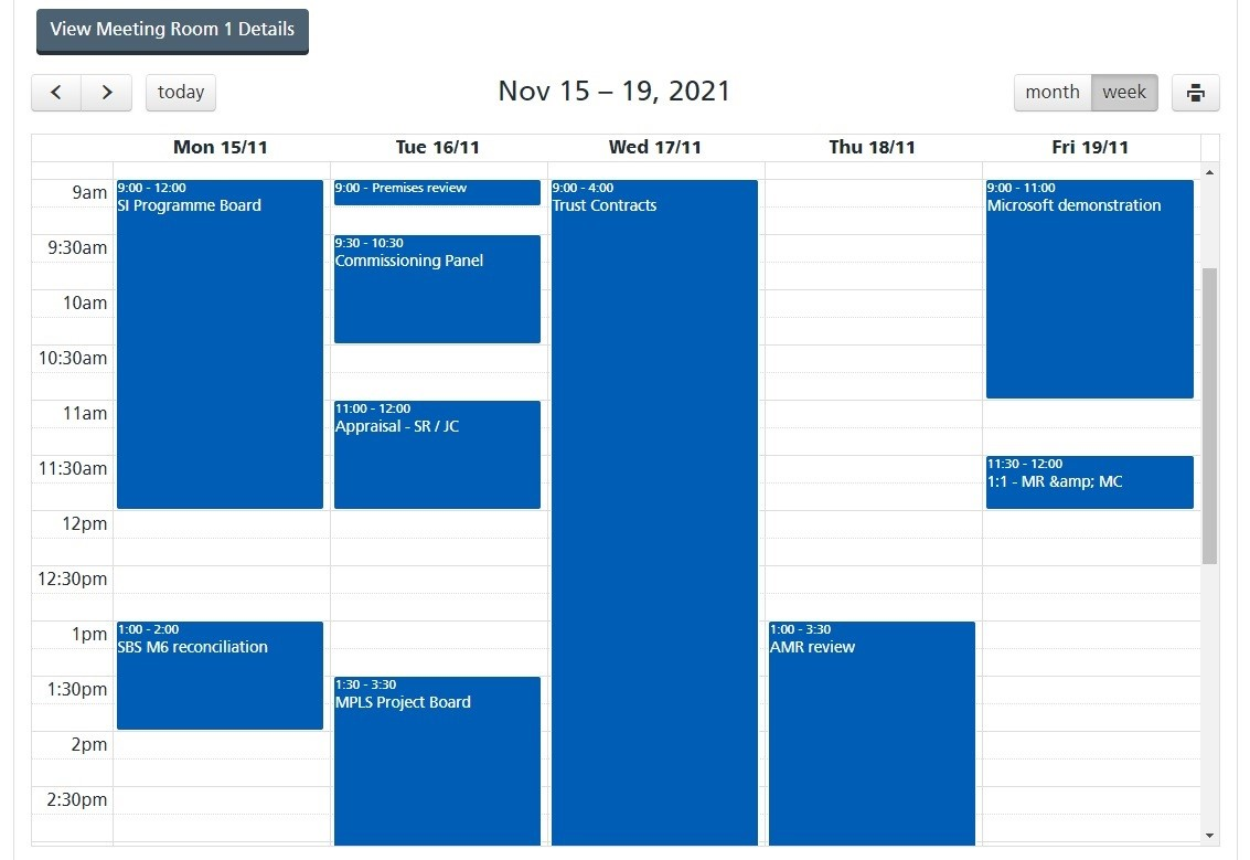 Example image of Ubook calendar view